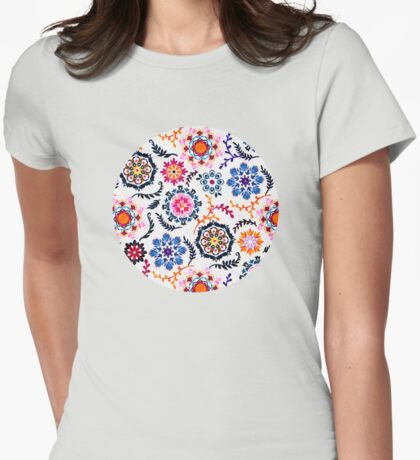 Happy Color Suzani Inspired Pattern Womens Fitted T-Shirt