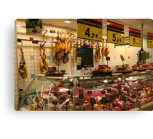 Spanish supermarket meat counter Canvas Print