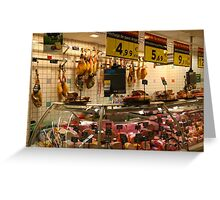Spanish supermarket meat counter Greeting Card