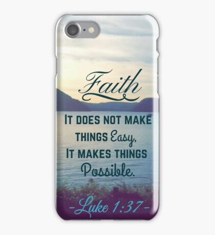 Faith Bible Verse- Luke 1:37 iPhone Case/Skin