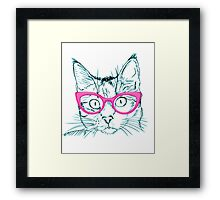 Hipster Cat Framed Print
