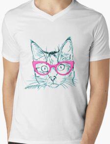 Hipster Cat Mens V-Neck T-Shirt