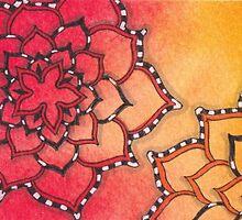Zentangle inspired art (ZIA) flowers (Red-Yellow) Horizontal by deliaknapman