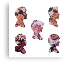 One Direction Floral Silhouettes Canvas Print