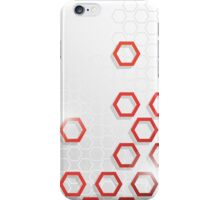 Grey and Red Hexagonal Pattern iPhone Case/Skin
