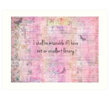 Jane Austen quote about books Art Print