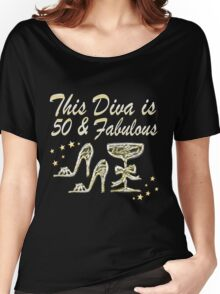 GORGEOUS GOLD 50 AND FABULOUS Women's Relaxed Fit T-Shirt