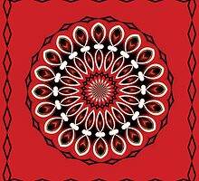 Black Red Inlay Mandala Kaleidoscope by dbvisualarts