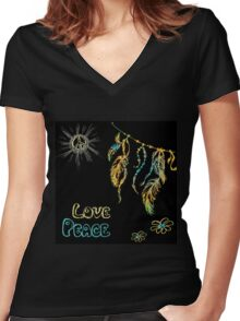 Hand drawn hippie background on black Women's Fitted V-Neck T-Shirt