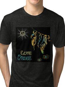 Hand drawn hippie background on black Tri-blend T-Shirt