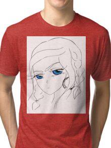 Anime girl with blue eyes Tri-blend T-Shirt