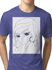 Anime girl with blue eyes Tri-blend T-Shirt