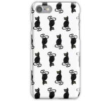 Black Cat Hand Drawn Pattern iPhone Case/Skin