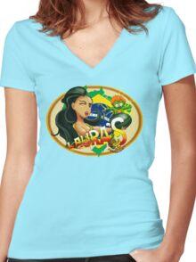 Laura's Fresh Fruit Store ( Laura Street Fighter V ) Women's Fitted V-Neck T-Shirt