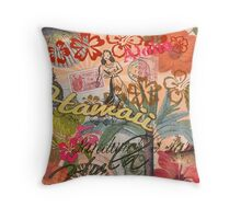 Vintage Hawaii Travel Colorful Hawaiian Tropical Collage Throw Pillow