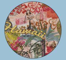 Vintage Hawaii Travel Colorful Hawaiian Tropical Collage One Piece - Short Sleeve