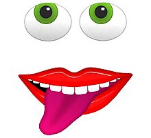 Smiling Mouth With Tongue Out and Green Eyes Photographic Print