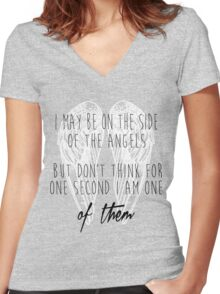 Side of the Angels (WHITE) Women's Fitted V-Neck T-Shirt