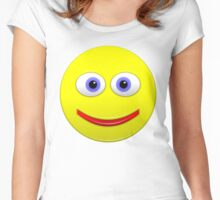Smiley With Big Blue Eyes Women's Fitted Scoop T-Shirt