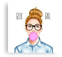 """Geek Girl "" Blonde version  Canvas Print"