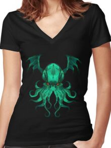 Cthulhu Vector Women's Fitted V-Neck T-Shirt