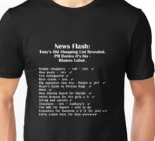 Tony's Shopping List - White Text  Unisex T-Shirt