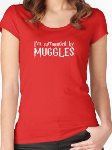 I'm Surrounded by Muggles (White) Women's Fitted Scoop T-Shirt