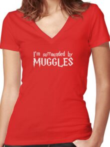 I'm Surrounded by Muggles (White) Women's Fitted V-Neck T-Shirt