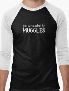 I'm Surrounded by Muggles (White) Men's Baseball ¾ T-Shirt