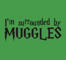 I'm Surrounded by Muggles (Black) Kids Tee