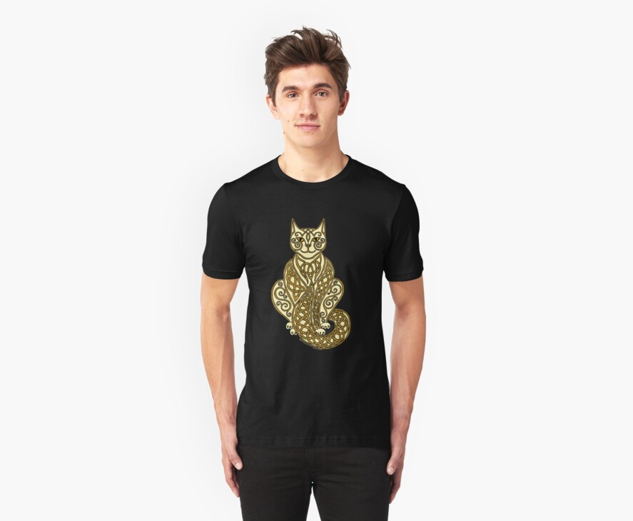 Celtic Cat 7 Cream and Gold by ingridthecrafty