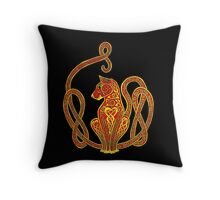 Red and Gold Celtic Cat Tee Throw Pillow