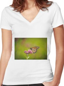Monarch On Swamp Milkweed 2014-2 Women's Fitted V-Neck T-Shirt