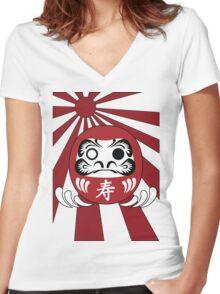 Daruma, Minimalist Style Women's Fitted V-Neck T-Shirt