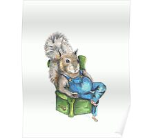 Squirrel with Jack-n-Coke, Squirrel watercolor, angry squirrel, drunk squirrel Poster