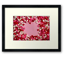 Valentine hearts with card in the middle Framed Print