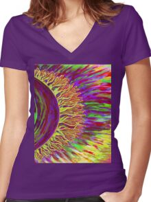 My sun Women's Fitted V-Neck T-Shirt