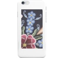 Wildflower Rosemaling Forget Me Not Rose North Coutry Folk Art Kirsten iPhone Case/Skin