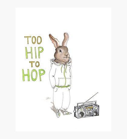 Too Hip to Hop - Hipster bunny, hip hop bunny, rabbit art, bunny watercolor, rap art Photographic Print
