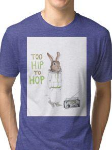 Too Hip to Hop - Hipster bunny, hip hop bunny, rabbit art, bunny watercolor, rap art Tri-blend T-Shirt