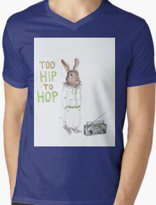 Too Hip to Hop - Hipster bunny, hip hop bunny, rabbit art, bunny watercolor, rap art Mens V-Neck T-Shirt