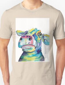 """""""Once in a Blue Moo"""" - blue cow watercolor T-Shirt"""