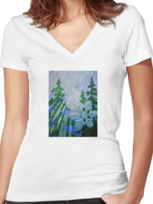 """""""Snowflake Forest""""  Women's Fitted V-Neck T-Shirt"""