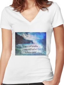 Travel Adventure quote by Herman Melville, nautical beach photo Women's Fitted V-Neck T-Shirt