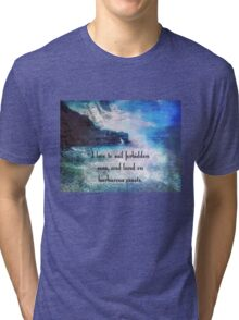 Travel Adventure quote by Herman Melville, nautical beach photo Tri-blend T-Shirt