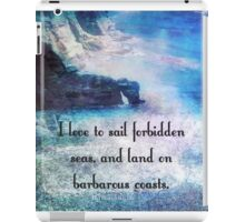 Travel Adventure quote by Herman Melville, nautical beach photo iPad Case/Skin