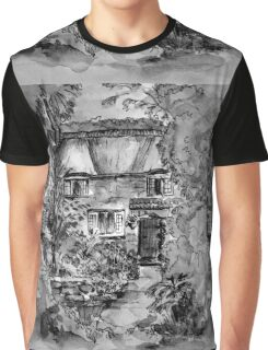 Thatched Cottage - Black & White Version of Original Painting  Graphic T-Shirt