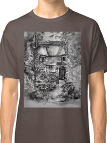 Thatched Cottage - Black & White Version of Original Painting  Classic T-Shirt