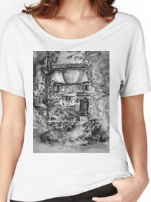 Thatched Cottage - Black & White Version of Original Painting  Women's Relaxed Fit T-Shirt