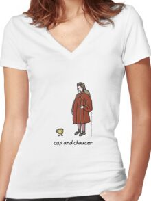 cup and chaucer Women's Fitted V-Neck T-Shirt